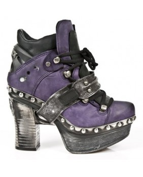Purple and black leather ankle boots New Rock M.Z011-C5