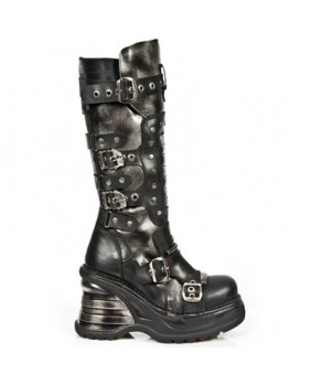 Black and silver leather boot New Rock M.8353-C1