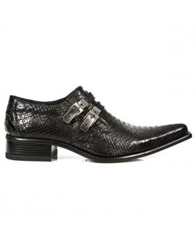 Chaussure noire en cuir New Rock M.2246-S21