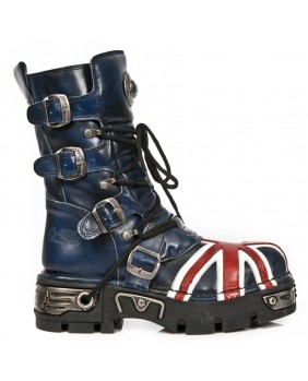 Botte bleue et rouge en cuir New Rock M.184-C1