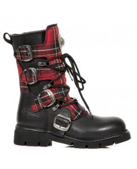 Stivali nera e rosso in pelle New Rock M.1473T-C1