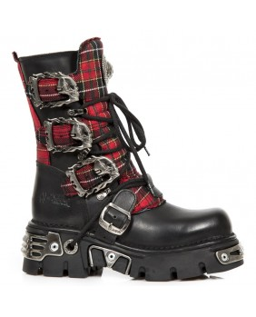 Black and red Leather and textile boot New Rock M.391T-S1