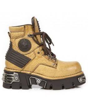 Chaussure montante marron en cuir New Rock M.924-C2