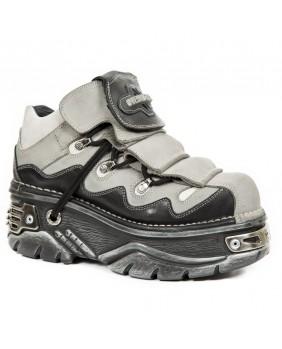 Chaussure grise et noire en cuir New Rock M.1075-C2
