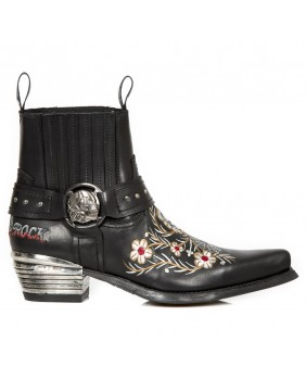 Anfibi nera in pelle New Rock M.WST046-C1