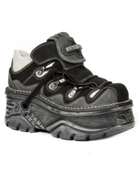 Chaussure grise noire et beige en cuir M.1075-C12