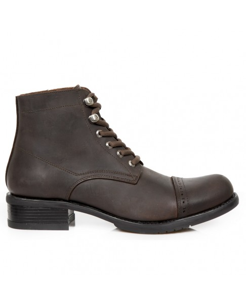 cheap prices great prices free delivery Chaussure montante marron foncé en cuir New Rock M.GY30-C13