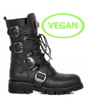 Botte noire en cuir Vegan New Rock M.1473-V15