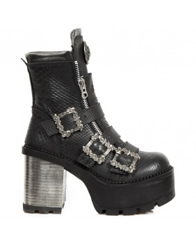 Black leather ankle boots New Rock M.SEVE23-C1