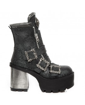 Bottine noire en cuir New Rock M.SEVE23-C5