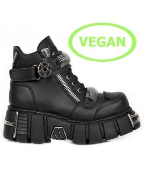 Chaussure montante noire en cuir Vegan New Rock M.1065-V1