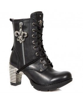 Bottine noire en cuir New Rock M.TR111-C1