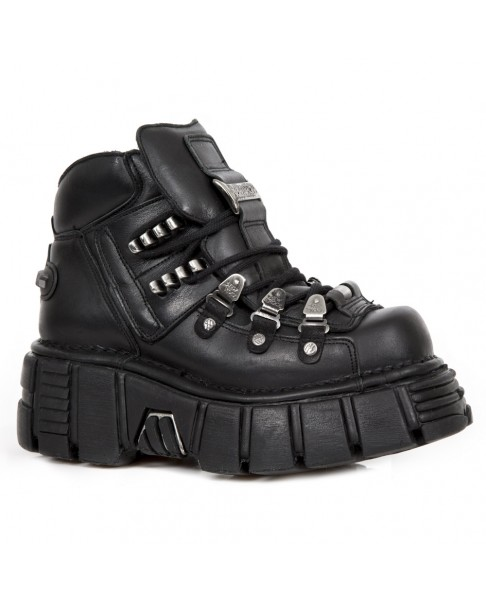 Rock Montante Noire 220 S2 Chaussure Cuir M Metallic New En LUpzGVSMq