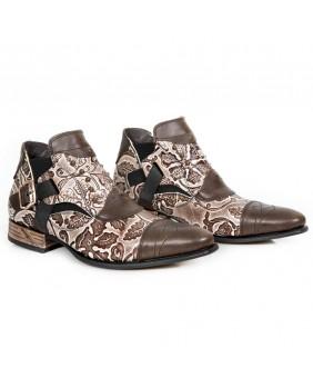 Boots marron et cuivre en cuir New Rock M.NW135-C11