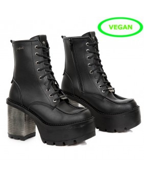 Bottine noire en cuir Vegan New Rock M.SEVE06-V1