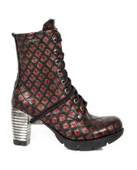 Red and black leather ankle boots New Rock M.TR001-C68