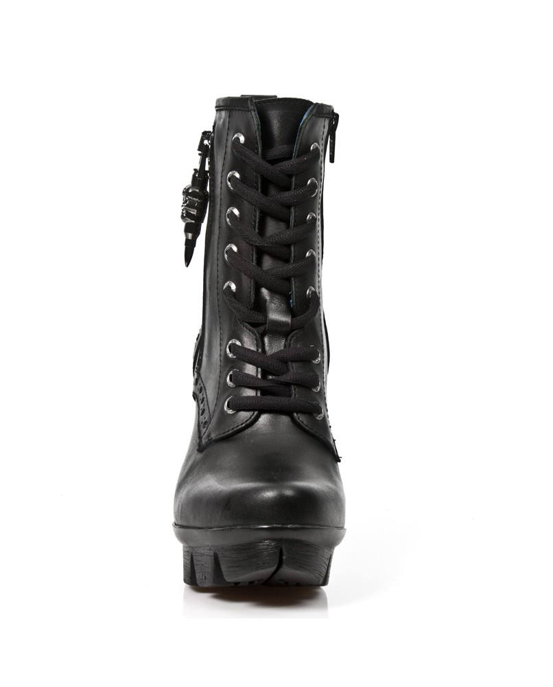 Bottine noire en cuir new rock m.neopunk003 s1 Neopunk New