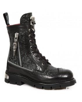 Rangers botas de combate negra en couro New Rock M.NEWMILI114-S1