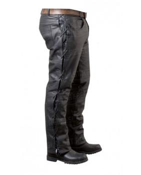 Pantalon à lacets cuir de buffle noir