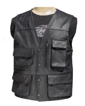 Gilet noir cuir buffle - Multi poches
