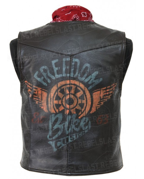 "Gilet vintage en cuir de buffle marron "" Freedom Bike Custom """