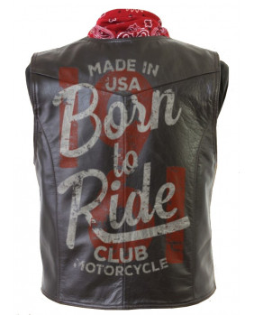 "Gilet vintage en cuir de buffle marron "" Born to Ride """