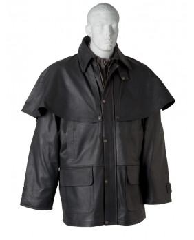 Manteau 3/4 Australien noir cuir vachette