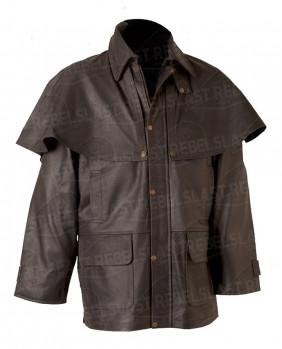 Manteau Australien 3/4 cuir de buffle marron
