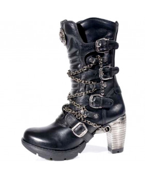 Stivali nera in pelle New Rock M.TR008-C2