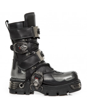 Stivali nera e argentata in pelle New Rock M.195-S2