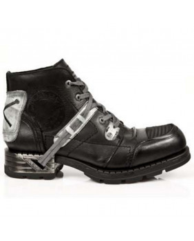 Black and grey leather shoes New Rock M.MR015-C3