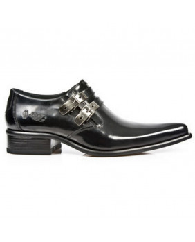 Black leather shoes New Rock M.2246-S20