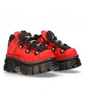 Chaussure montante rouge et noire en cuir New Rock M-106-S56