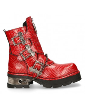 Botte compensée rouge en cuir imitation python New Rock M-1486-C10