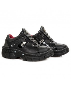 Steel and black leather platform shoe New Rock M-CRASH001-C14