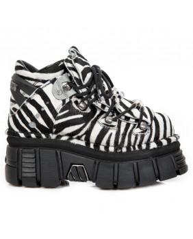 Chaussure montante blanche et noire en cuir et fourrure bovine New Rock M-106-S31