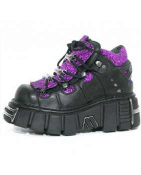 Black and lilac leather shoes New Rock M-106-R1