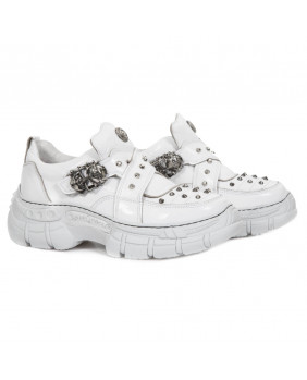 White leather sneakers New Rock M-CRASH005-C1