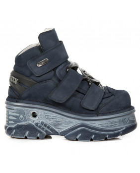 Botte compensée bleue en nubuck New Rock M-285-C46