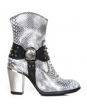 White leather imitation python ankle boots New Rock M-7988-C10