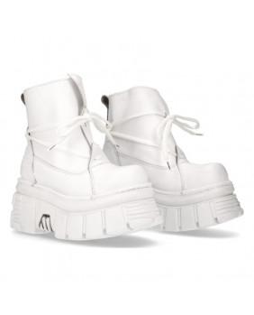 Chaussure montante blanche en cuir New Rock M-462-C6