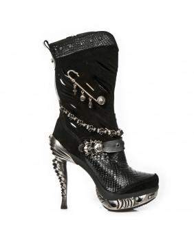 Stivali nera in pelle e velluto New Rock M-MAG034-C10