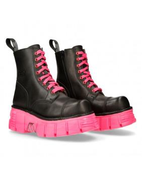 Rangers nera e rosa in pelle New Rock M-MILI083C-C39