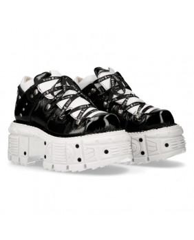 Chaussure compensée blanche et noire en cuir New Rock M-TANK106NLACE-C6