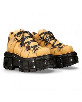 Chaussure compensée jaune en cuir New Rock M-TANK106NLACE-C3