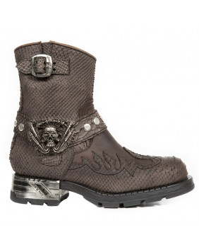 Anfibi marrone in pelle imitazione pitone New Rock M-MR041-C8