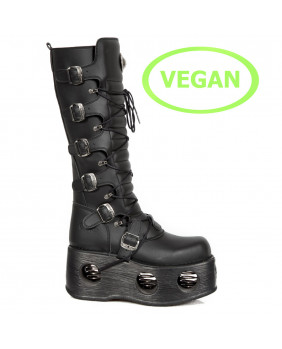 Black Vegan leather platform boot New Rock M-272-VC2