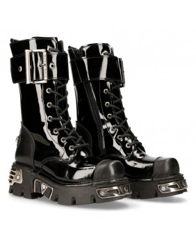 Black leather wedge boot New Rock M-312-C15