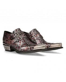 Sapato da cidade aço e vermelho en couro New Rock M-7960P-C4
