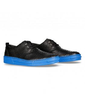 Basket noire et bleue en cuir imitation python New Rock M-PS074-C5
